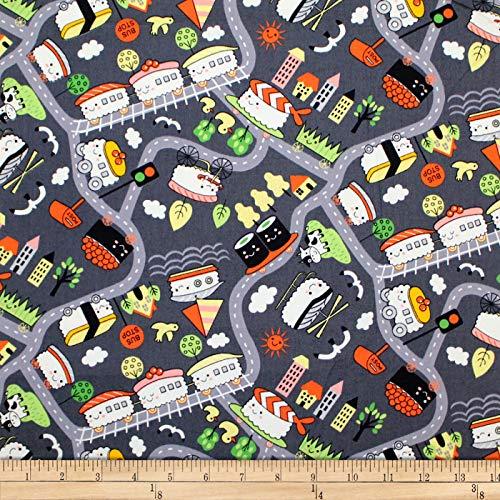 Trans-Pacific Textiles Oriental Sushi Train Fabric, Nori-Grey, Fabric By The Yard ()