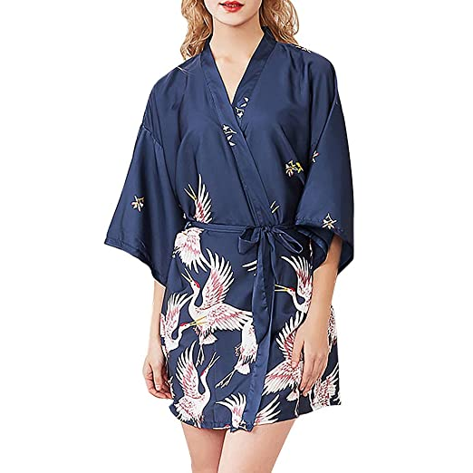 3ad8c297aeb Women Silky Stain Robe Nightgown Crane Print Silky Kimono Sleepsuit Short  Oblique V-Neck Wedding Bride Sleepwear at Amazon Women s Clothing store
