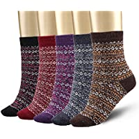 5-Pack Bemaystar Nordic Wool Womens Winter Socks