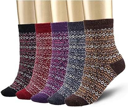 Bemaystar Nordic Wool Woman Socks Winter Socks 5-pack