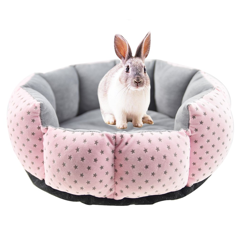 FLAdorepet Rabbit Guinea Pig Cat House Bed Mat Cushion Winter Warm Squirrel Hedgehog Chinchilla Hamster Bed House Cage Nest Rabbit Supplier (S(10inch), Pink)