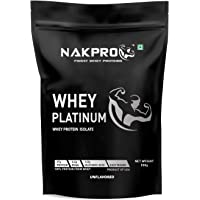 Nakpro Platinum Whey Protein Isolate 90% (27gm Protein per serve) - 1 kg (500g * 2 Pack) Raw Whey Protein Isolate Supplement Powder for Gym from USA