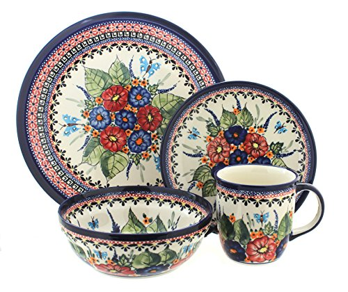 Polish Pottery Floral Butterfly 16 Piece Dinner Set