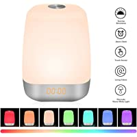 Sunvook Wake Up Light & Night Light 2 in 1 Bedside Lamp Digital LED Alarm Clock with Sunrise Function 5 Natural Sounds Touch Control 3 Dimmable Brightness USB Rechargeable Lamp for Women Kids