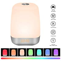 Sunvook Wake Up Light & Night Light 2 in 1, Bedside Lamp Digital LED Alarm Clock with Sunrise Function, 5 Natural Sounds, Touch Control, Eyes Protection, 256 RGB Adjustable 3 Dimmable Brightness,USB Rechargeable Atmosphere Lamp for Women Kids Children [Newest Version]