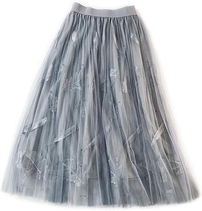 flyWANG Faldas de Cintura Alta para Mujer, Multicapa, Plisadas, de ...