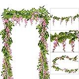 DearHouse 4Pcs 6.6Ft/piece Artificial Flowers Silk Wisteria Garland Artificial Wisteria Vine Rattan Silk Hanging Flower For Home Garden Outdoor Ceremony Wedding Arch Floral Decor(Pink)
