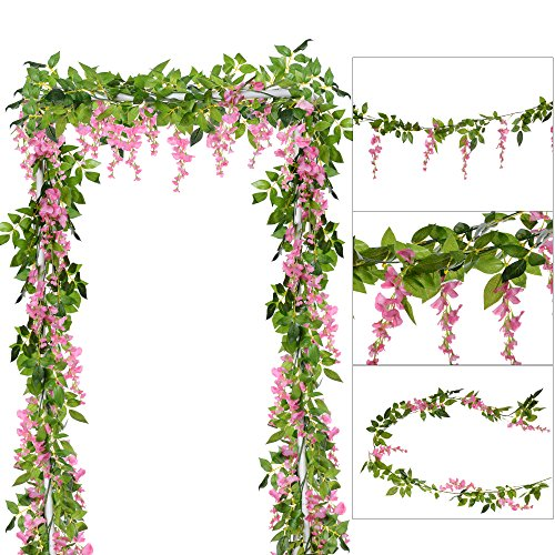 Pink Vine Floral (DearHouse 4Pcs 6.6Ft/Piece Artificial Flowers Silk Wisteria Garland Artificial Wisteria Vine Rattan Silk Hanging Flower for Home Garden Outdoor Ceremony Wedding Arch Floral Decor(Pink))
