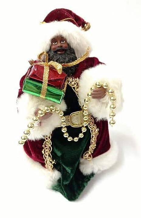 black santa tree topper with present - Santa Christmas Tree Topper