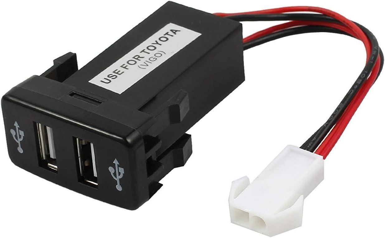 LiNKFOR Coche Cargador Universal 1.2A/2.1A Dual USB Coche Mechero 12V 24V Encendedor Cargador Adaptador Toma Socket Resistente a Calefaccion para Toyota