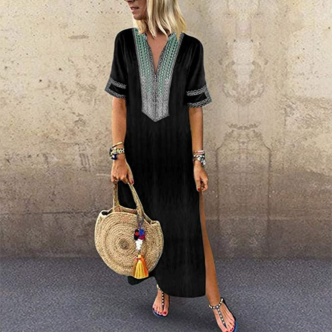 Henwerd Women's Printed V-Neck Maxi Dress Hem Baggy Kaftan Three ...
