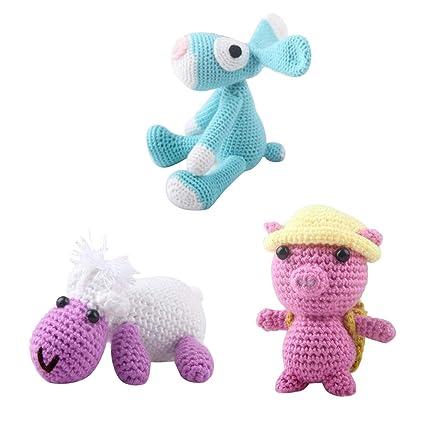 Amazoncom Prettyia 3 Sets Diy Doll Crochet Kit For Kids Children