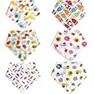 Baby Bandana Bibs 6 Pack for Girls and Boys Reversible Teething Toddler Drool Dribble Bibs with Snaps Cute Unisex Organic Cotton Absorbent Set Best Shower Gift