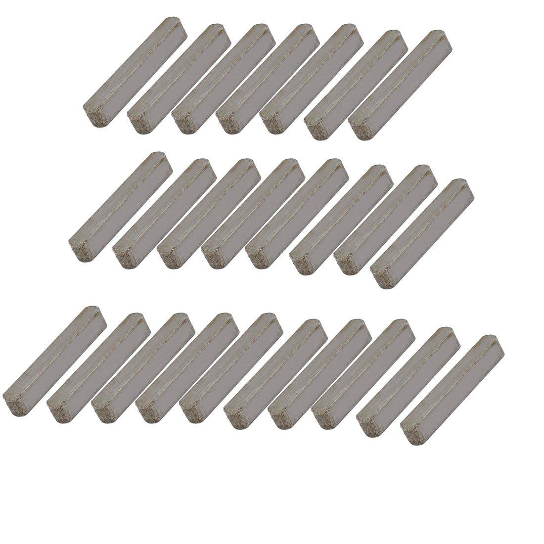 sourcing map 32mmx5mmx5mm acier carbone clé droite Stock clavette barre gris 25 pcs