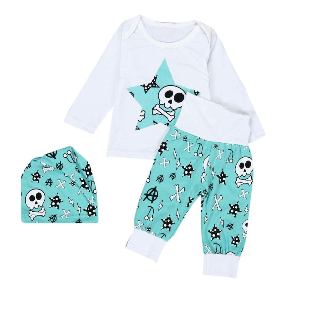 Amlaiworld Bebé niños niñas manga larga impresión camiseta + pantalones largos + sombrero ropa conjunto 0-2 Años (Tamaño:6-12Mes, Blanco)