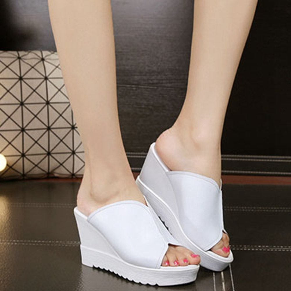 T-JULY Womens Girls Wedge Sandals Platform Slides High Heel Fashion Fish Mouth Thick Bottom Slippers