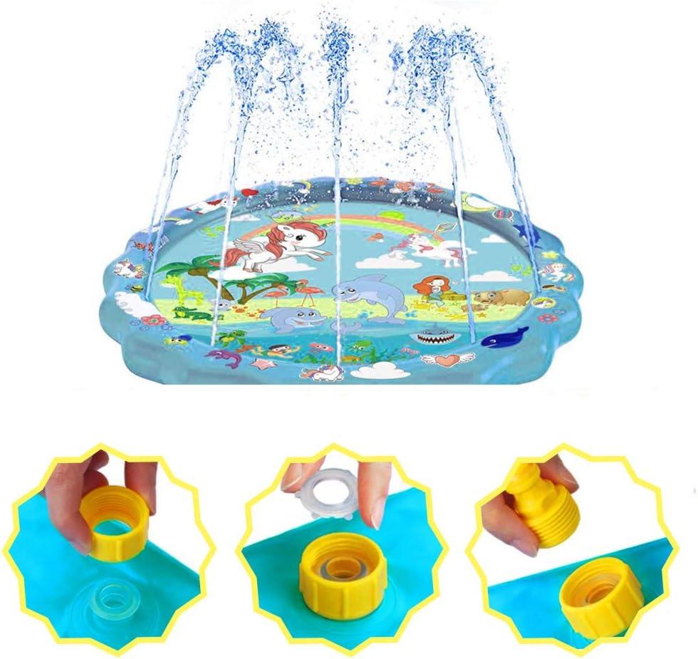 HUOHUOHUO Sprinkler Splash Play Matte,Splash Spielmatte Sprinkler Wasserspielmatte,Wasserspielzeug Garten f/ür Kinder Outdoor Familie Aktivit/äten Party und Haustiere