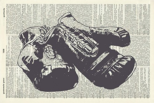 (Boxing Gloves Art Print - Vintage Art Print - Vintage Boxing Gloves Illustration - Sports Artwork - Vintage Dictionary Art Print - Book Page Wall Hanging 616D)