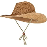 F Fityle Unisex Mens Womens Boys Girls Sun Hat Wide Brim Woven Western Straw Cowboy Hat
