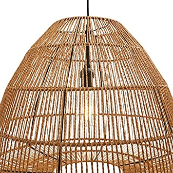 Stone Beam Rustic Global Round Woven Lamp Shade Hanging Ceiling Pendant Fixture with Light Bulb – 20 x 20 x 44.5 Inches, Natural Rattan