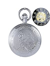 OGLE Waterproof Chain Black Silver Horse Fob Self Winding Automatic Skeleton Mechanical Pocket Watch