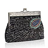 SIMANLI Clutches for Women Peacock Pattern Clutch, Retro Evening Bag with Gold Metal Fittings and Tiny Glass Beads and Sequin, Clutch Purse For Party Prom Bride Ball Wedding (Black)