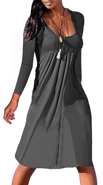 c18b613b84e NIASHOT 3 4 Sleeve Dresses for Women Casual Basic Tunic Dress Knee Length  Dark Grey
