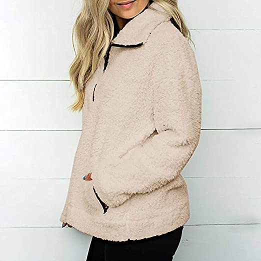 Amazon.com: Womens Coats Winter Besde Womens Fashion Casual Warm Lightweight Outwear Sweatshirt Solid Wool Zipper Pockets Cotton Loose Coat Outwear: Home ...