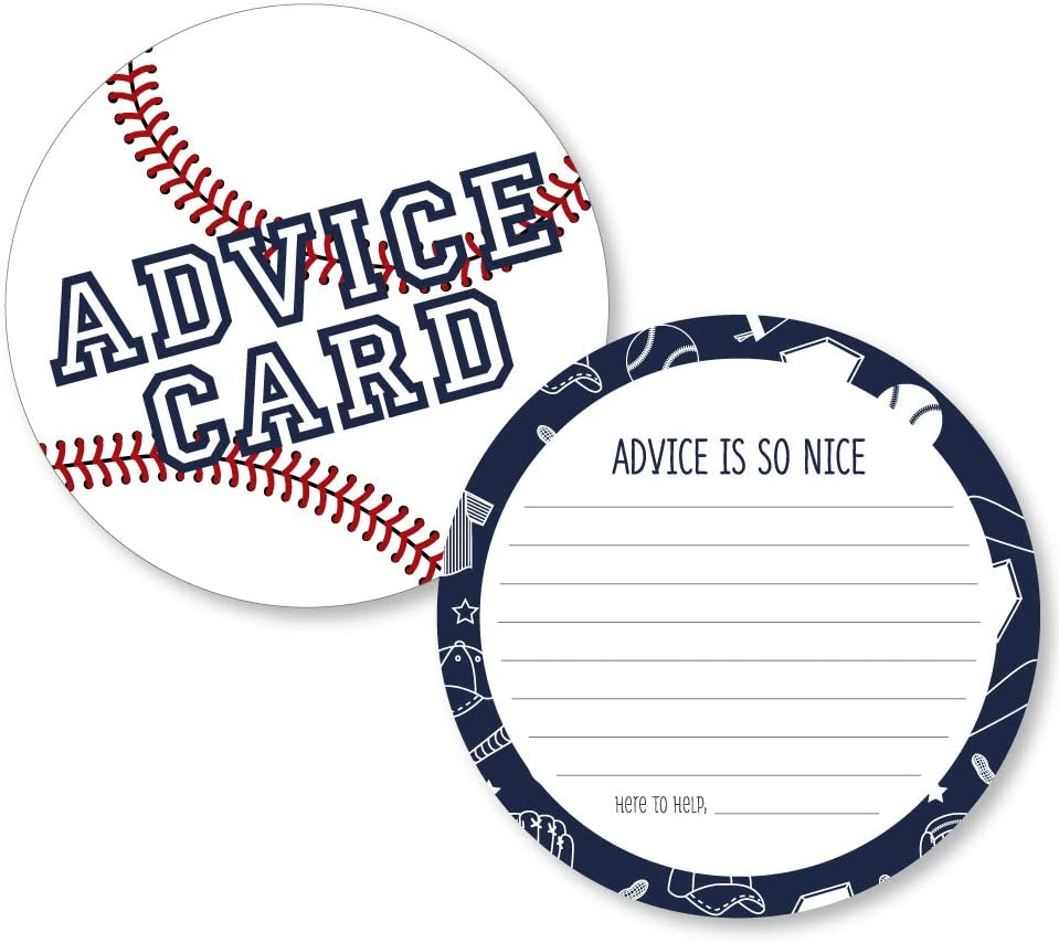 Big Dot of Happiness Batter Up - Baseball - Wish Card Baby Shower Activities - Shaped Advice Cards Game - Set of 20