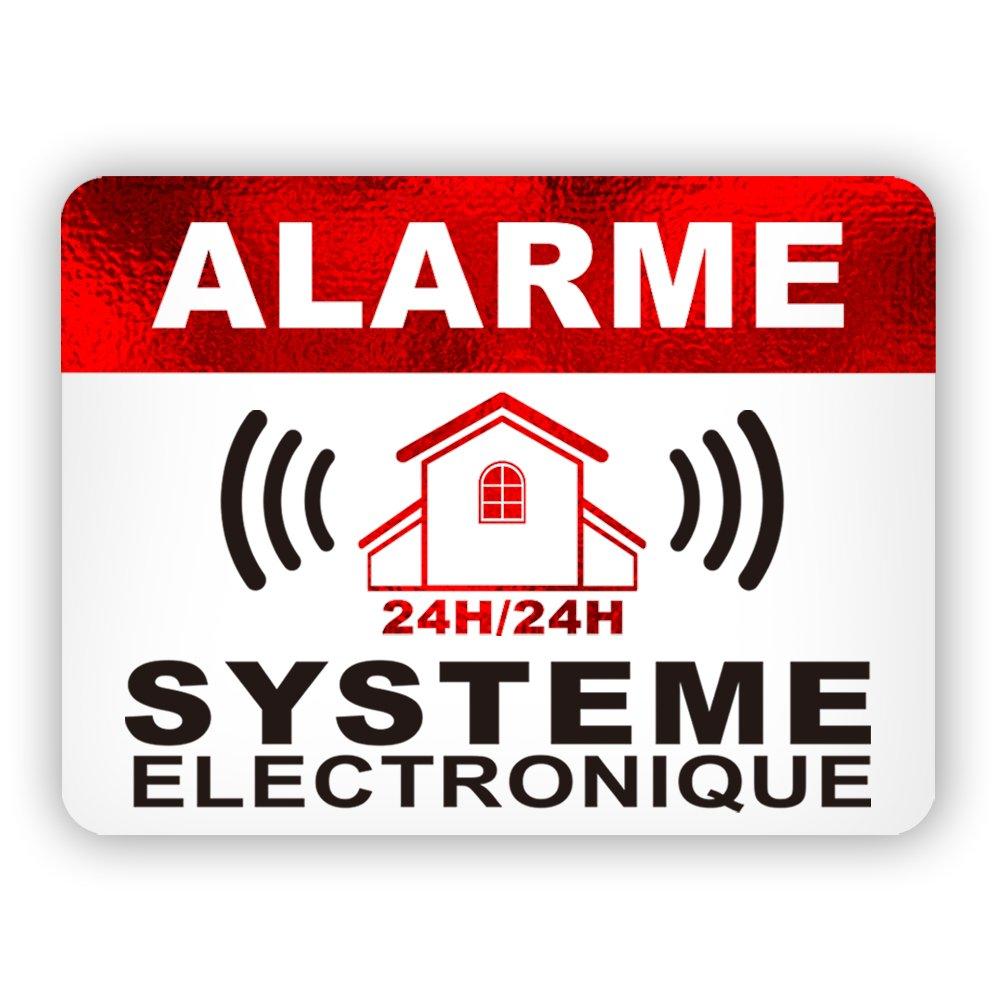 Autocollants dissuasifs Alarme Stickers Alarme sécurité 8x6cm Lot DE 12 CeenoSign