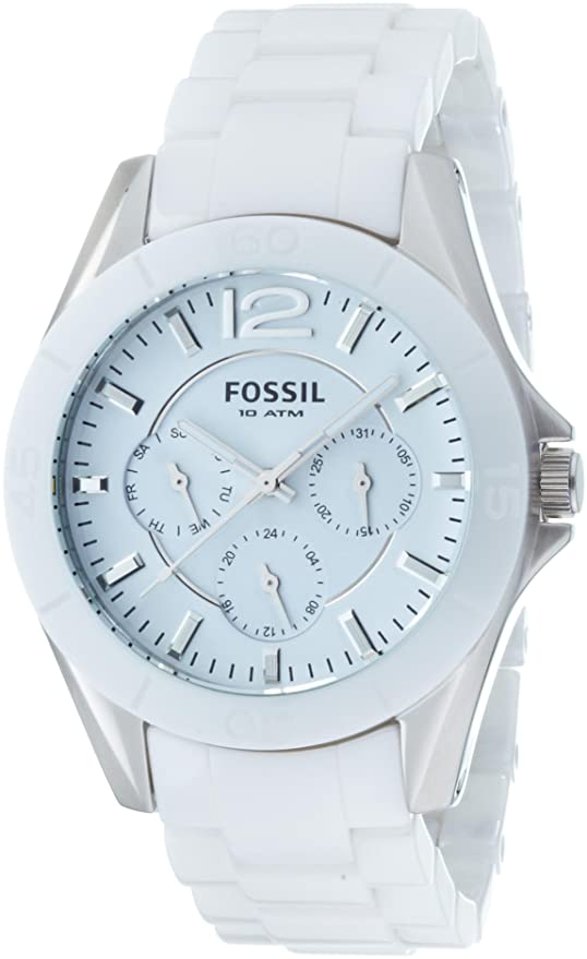 Amazon.com: Fossil Womens Quartz Stainless Steel and Ceramic Casual Watch, Color:White (Model: CE1002: Fossil: Watches