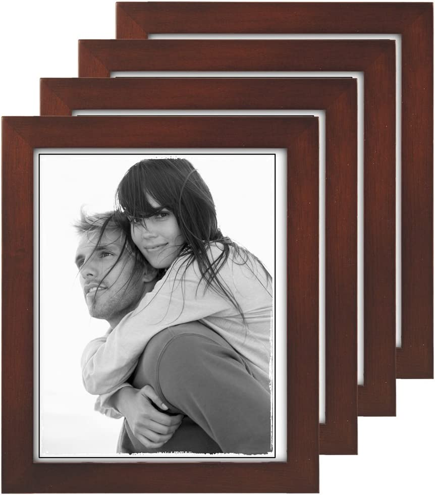 Malden 8x10 Picture Frame, Wide Real Wood Molding, Real Glass, Dark Walnut