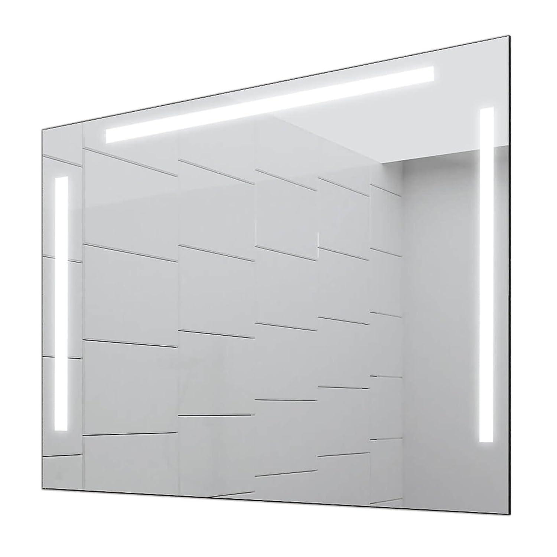 Concept2u LED Badspiegel Enjoy Badezimmerspiegel mit Beleuchtung 100 cm Breit x 60 cm Hoch Licht Links+Oben+RECHTS