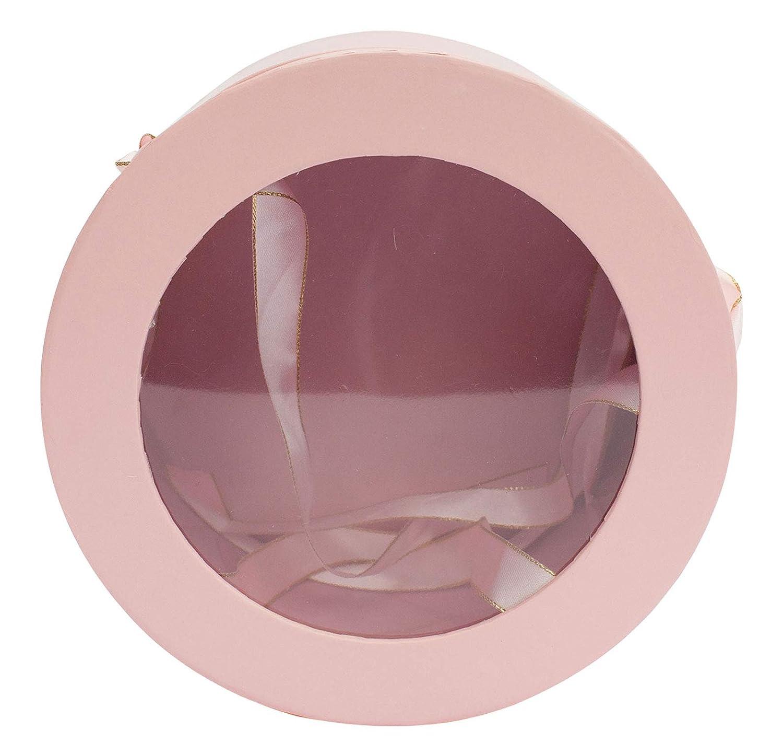 Interno a Doppio Strato e Manici a Nastro in Raso Rosso e Oro Emartbuy Set di 3 Confezione Regalo Rigida di Lusso Rotonda Per Fiori Stampa Rossa Con Parte Superiore Trasparente