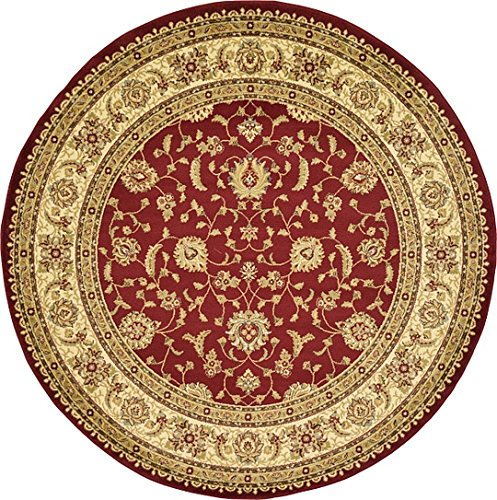 Unique Loom Agra Collection Red 8 ft Round Area Rug (8' x 8') Rust 8' Round Area Rug