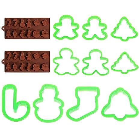 faburo 2pcs navidad para bombones, pastel, gelatina y hielo silicona Fondant molde molde y