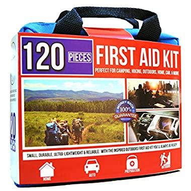Premium First Aid Kit - Essential Pieces, Light, Portable -Free Fire Starter- Perfect for Survival, Travel, Home, Car, Camping & Preparation 120pc