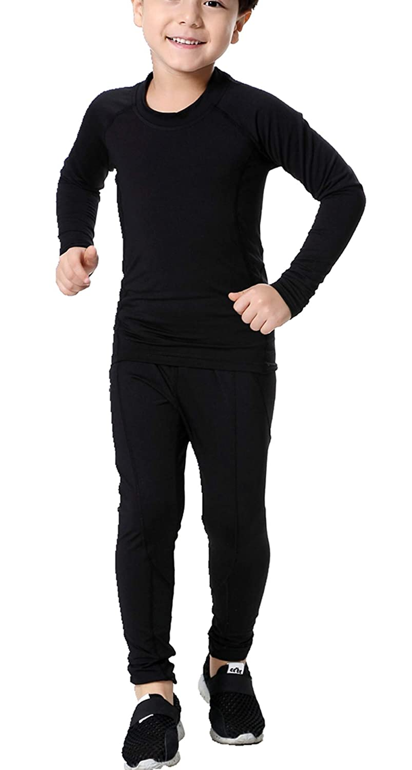 LANBAOSI Boys & Girls Long Sleeve Compression Shirts and Pant 2 Pcs Set SL299-CA