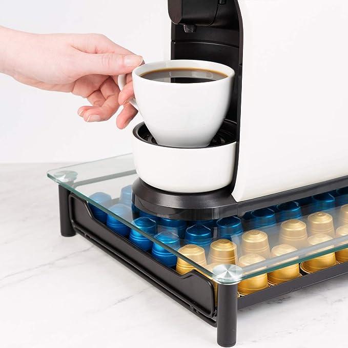 Navaris Dispensador de cápsulas de café Nespresso - Soporte para máquina de café con Tapa de Vidrio - Cajón para almacenar hasta 60 cápsulas: Amazon.es: Hogar