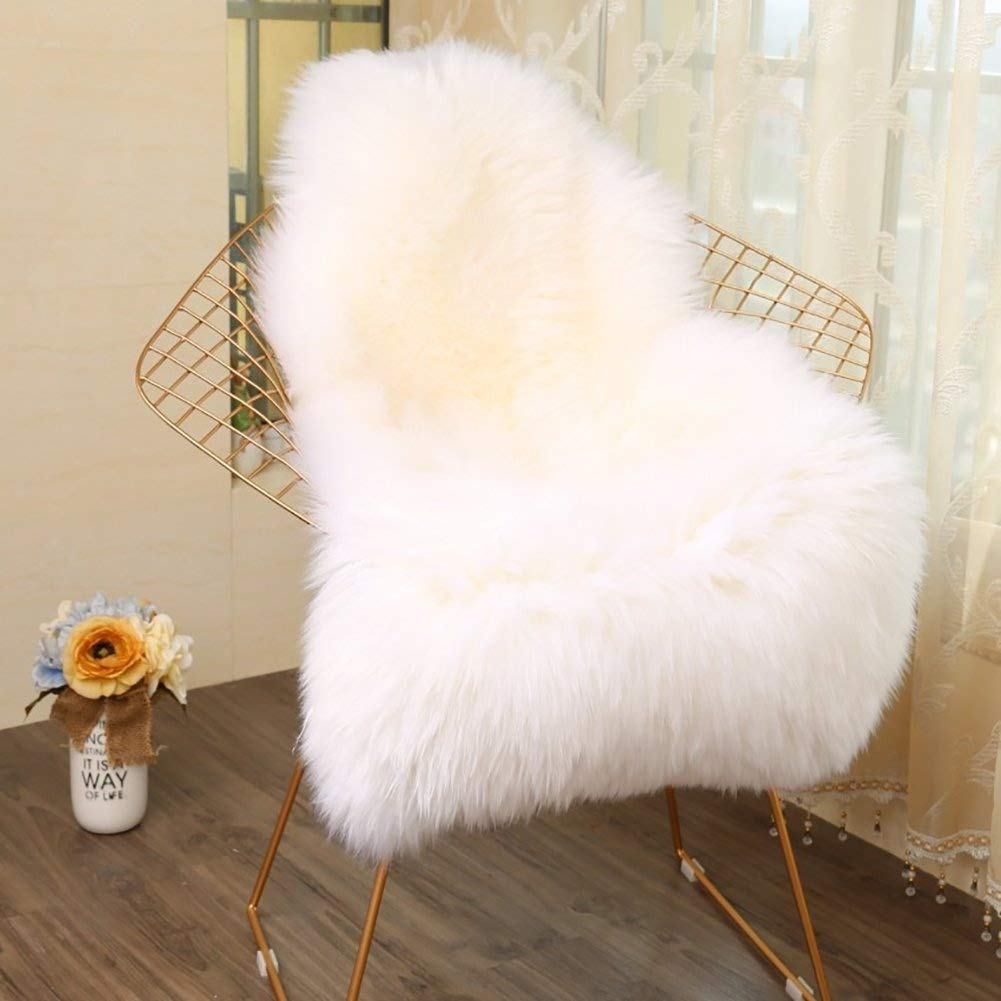 Faux Fur Sheepskin Style Rug, Faux Fleece Chair Cover Seat Pad Anti-Skid Yoga Carpet for Living Room Bedroom Sofa Floor (White) (Grey, 60x90) (White, 60x90cm) (White, 60x90 CM) WiseGe