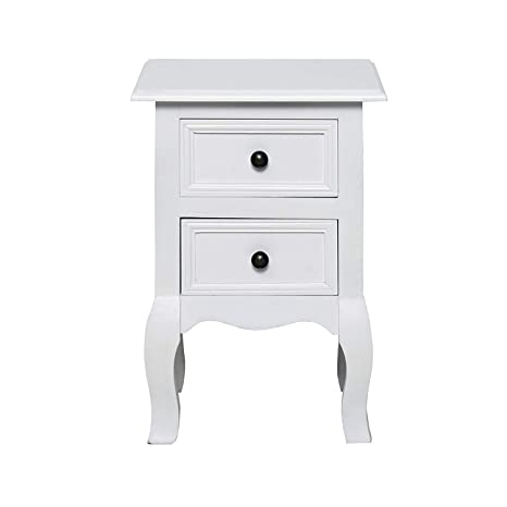 rebecca mobili Mesita de noche Mesilla 2 cajones de madera Blanca estilo Victoriano Dormitorio (Cod RE4034)