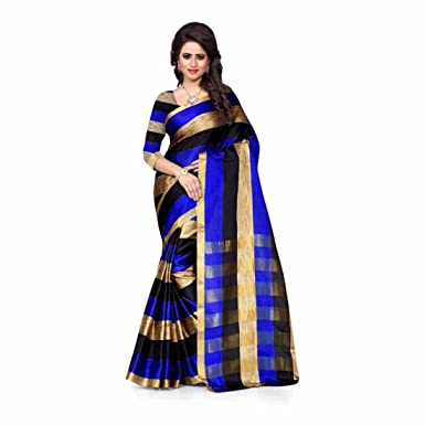 0e2ce98816 Amazon.com: Printed Fashion Cotton Silk Saree (Blue): Clothing