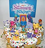 Nickelodeon Shimmer and Shine Deluxe Mini Cake Toppers Cupcake Decorations Set of 17 with Figures and ''Genie Gems'' Including Princess Shamira, Leah, Zac, Roya and More!