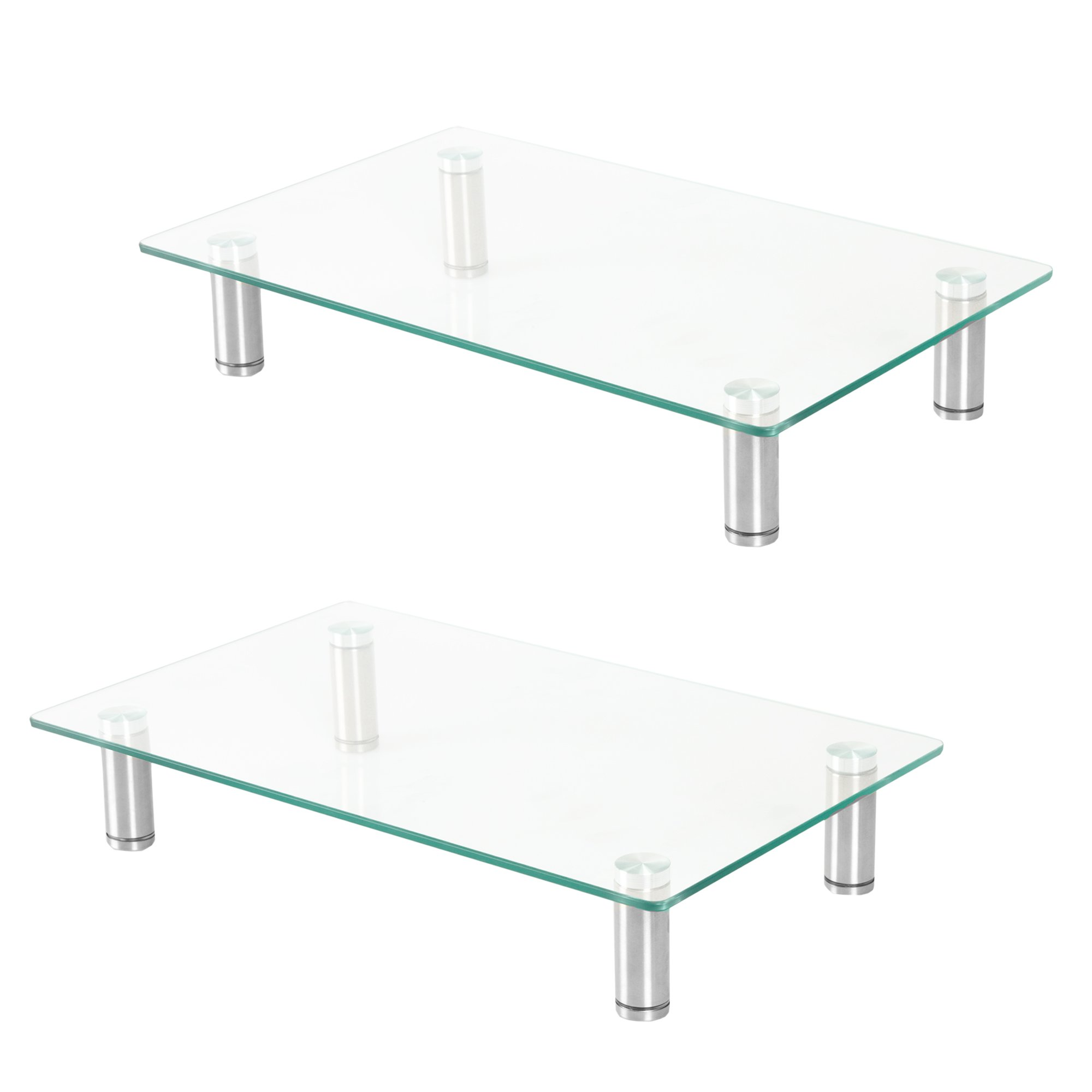 Glass Monitor Stand 2 Pack - 16 x 9.5 Inch Desktop Risers for Computer Monitors, Laptop & More