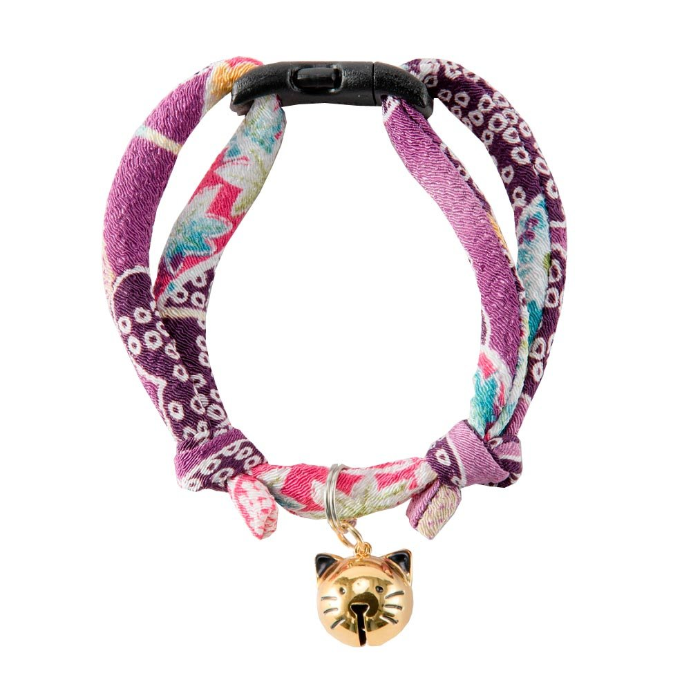 Necoichi Chirimen Hanabi Fireworks Cat Collar (Purple)