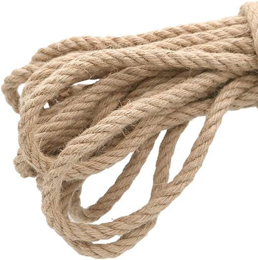 KINGLAKE Cuerda de cáñamo Fuerte de 10 mm, 4 Capas, 10 m de Grosor, Cuerda de Yute para jardín, para Embalaje de Regalo, para jardín, etc.: Amazon.es: Jardín