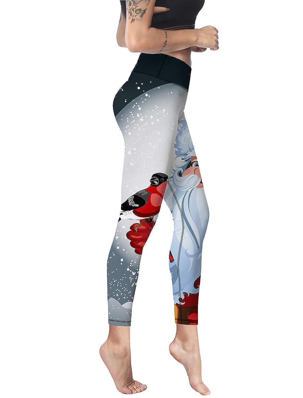 Custom Leggings Women High Waist Soft Yoga Workout Stretch Printed Merry Christmas Santa Claus Stretchy Capris Pants