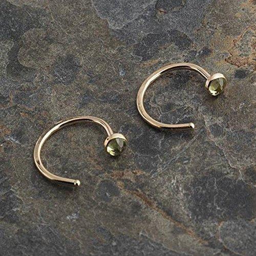 Peridot Stone Open Hug Hoops Hugging Earrings 3mm by Fashion Art Jewelry