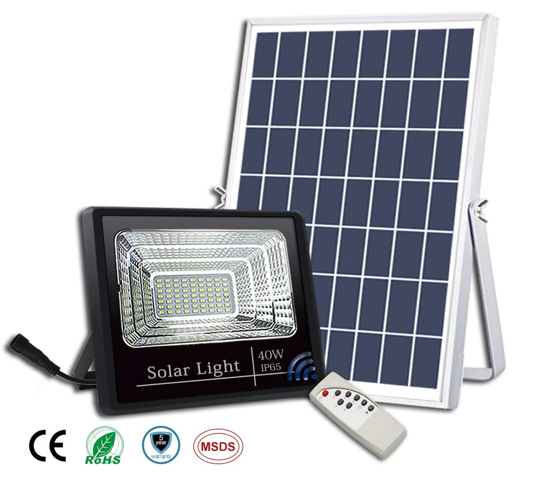 40W Solar Flood Lights Outdoor,Street and Area Lighting,Dusk to Dawn,56LEDs IP65 Outdoor Waterproof 1500lumen Light Sensing,Security Lighting,Remote Control Safety floodlight