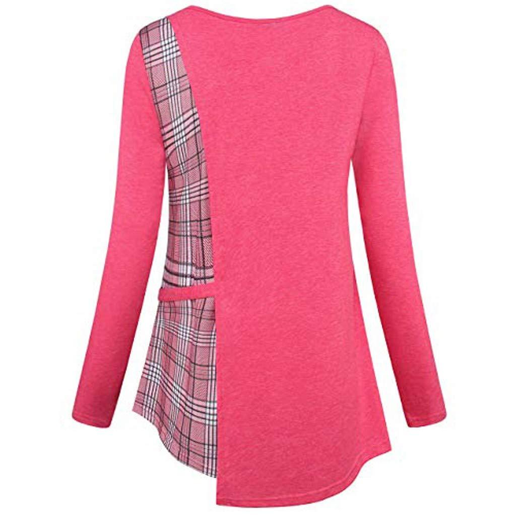 Women's Large Plus Size Plaid Long Sleeve O-Neck Color Block Tops Shirt